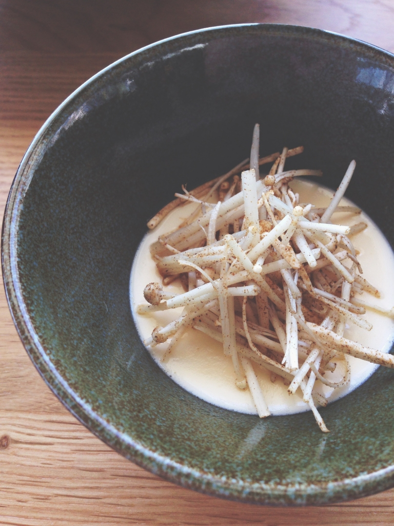 Italian chawanmushi - the texture of custard but the flavor of parmesan, topped with enoki