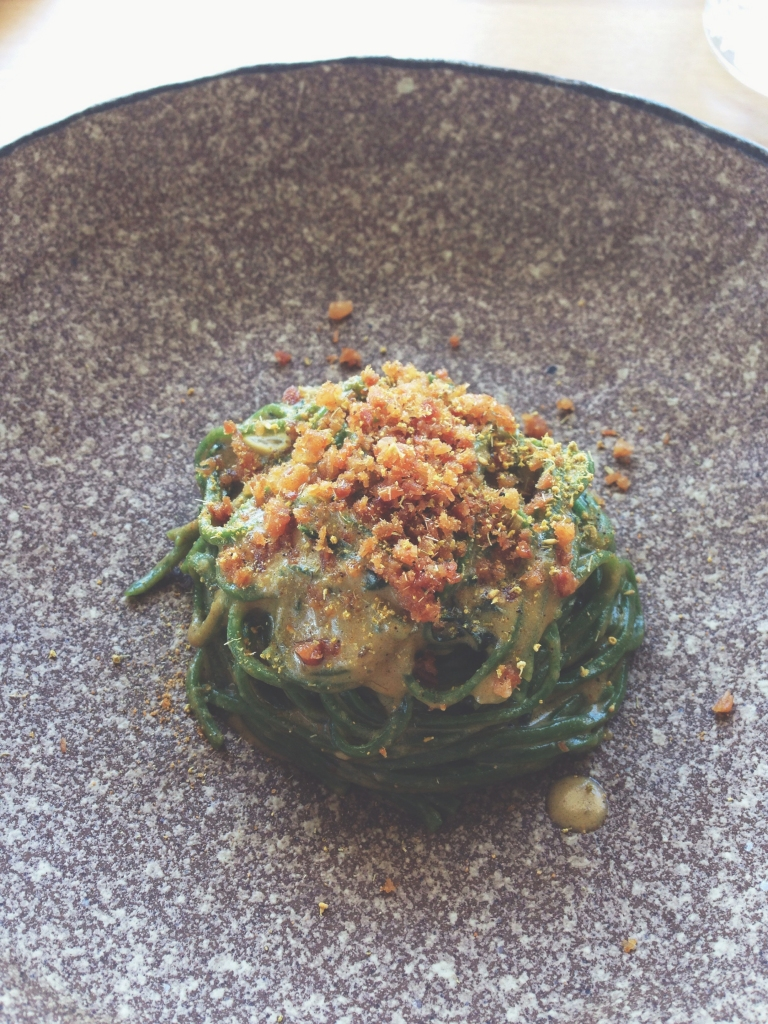 Main option 2: stinging nettle chitarra, mussel cream, crunchy pork, fennel pollen