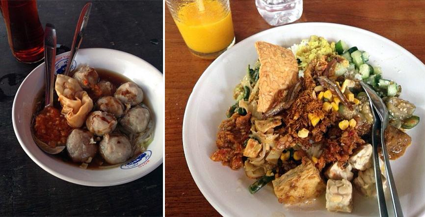 Left: bakso at Double Six Beach. Right: Half nasi campur, half gado gado at Made's Warung.