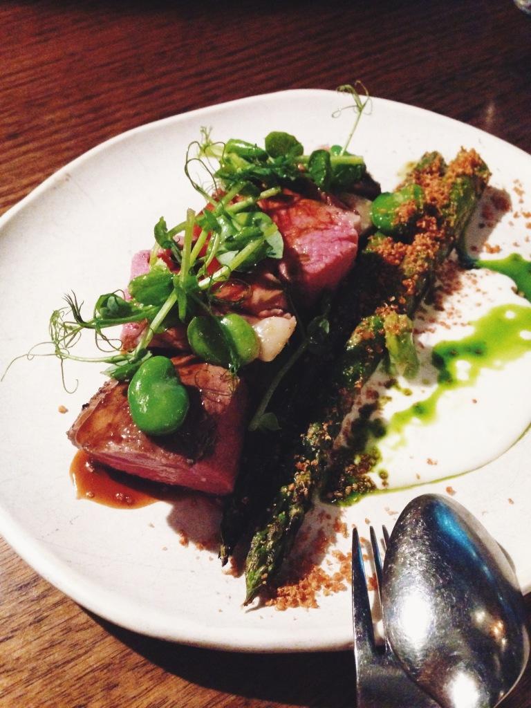 Lamb rump, asparagus