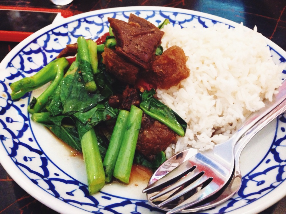 Pork belly with Chinese broccoli and rice