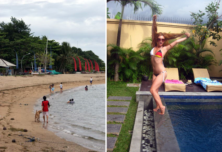 Left: Sanur Beach. Right: Arman Villa, Seminyak.