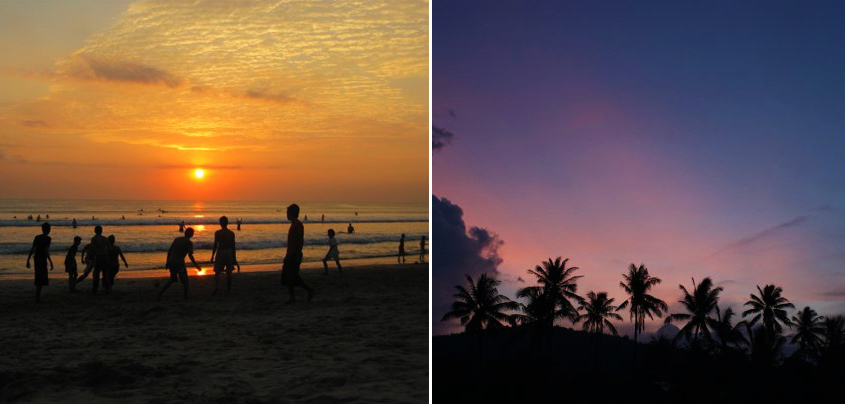 Sunsets! Left: Legian Beach. Right: Amed.