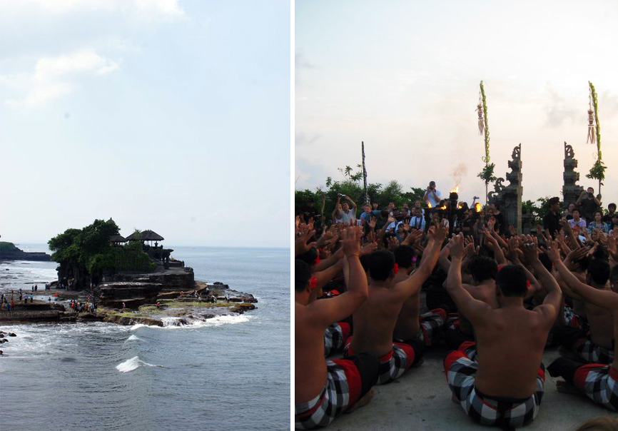 Left: Tanah Lot Temple. Right: Kecak at Uluwatu Temple.