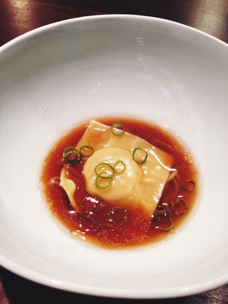 2nd course: scallop dumpling, kombu, duck broth, and noodles underneath