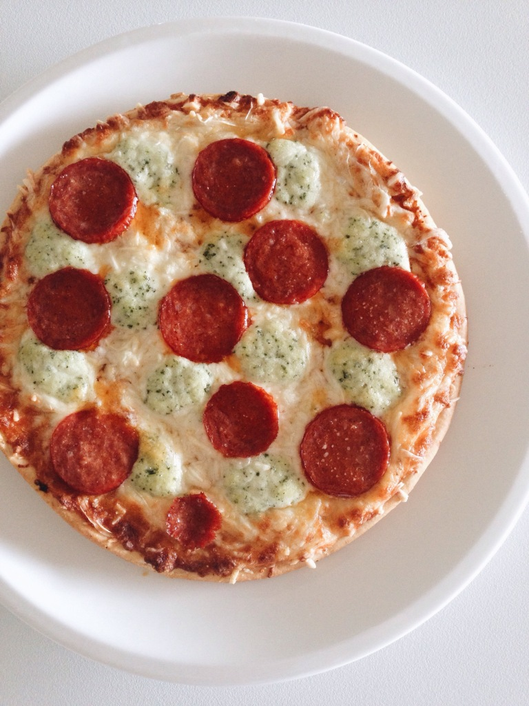 Dr Oetker quattro formaggi with pepperoni I added on top