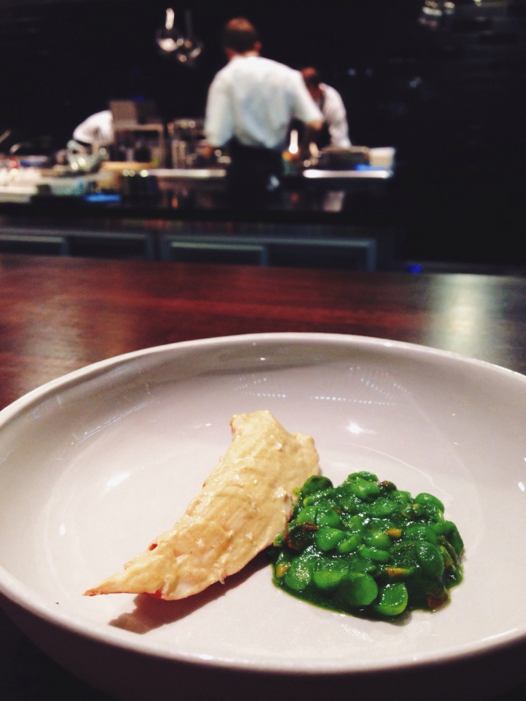 4th course: the marron, pea, and pistachio is a flavor party.