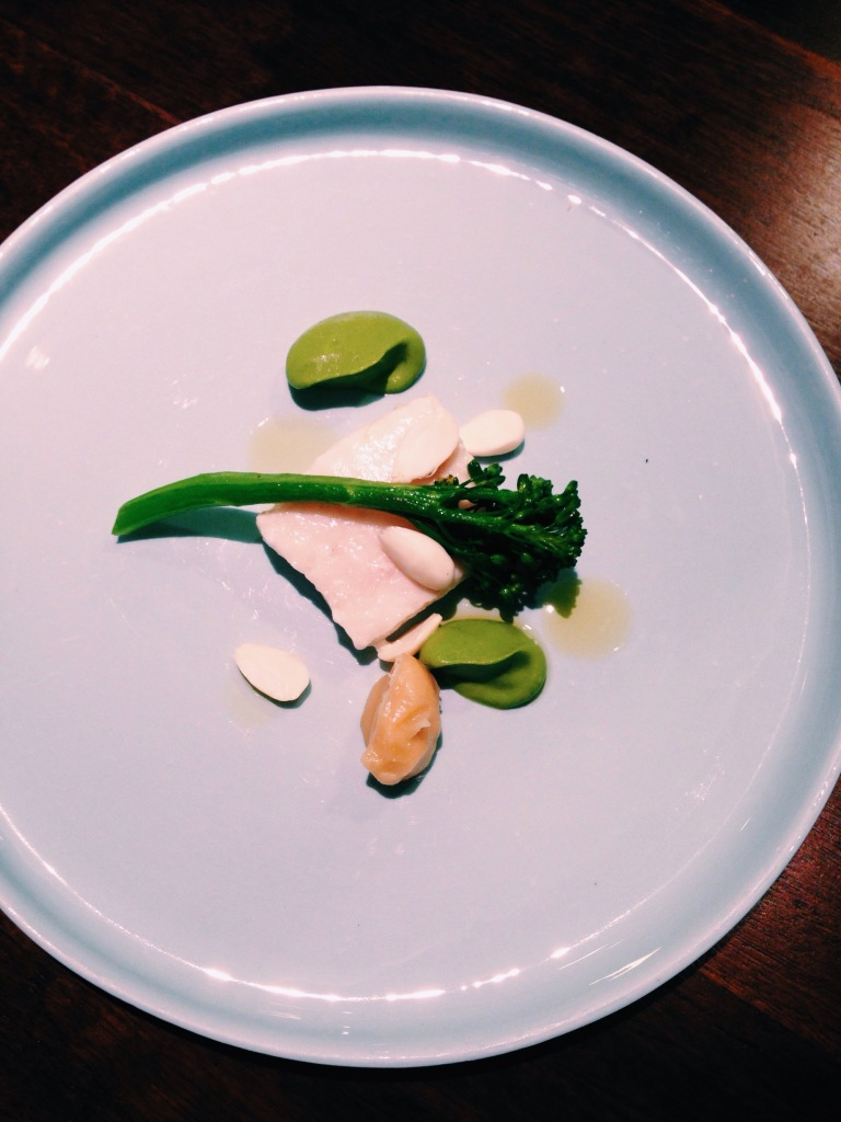 5th course: john dory with broccoli, activated almonds, and lemon. I've decided I don't like activated almonds.