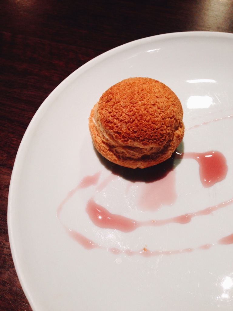 8th course: stellar ewe's curd in a choux pastry with rose.