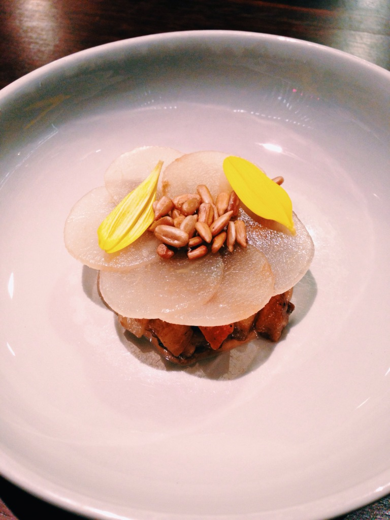 10th course: artichoke, pear, sunflower seeds, sunflower petals.