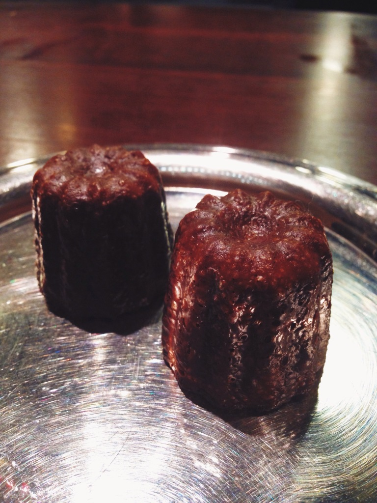Petit fours: my first time trying a canelé, and I love the spongy, soft interior.