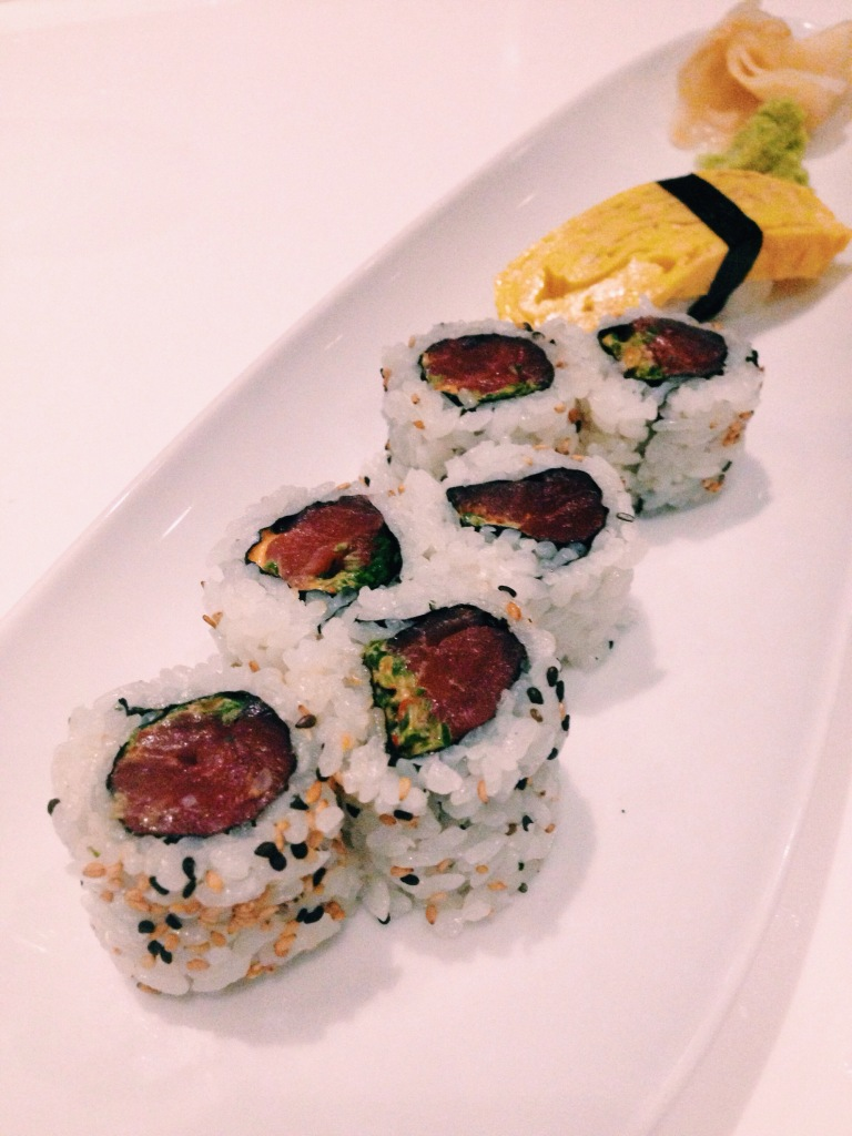 Spicy tuna rolls and tamago