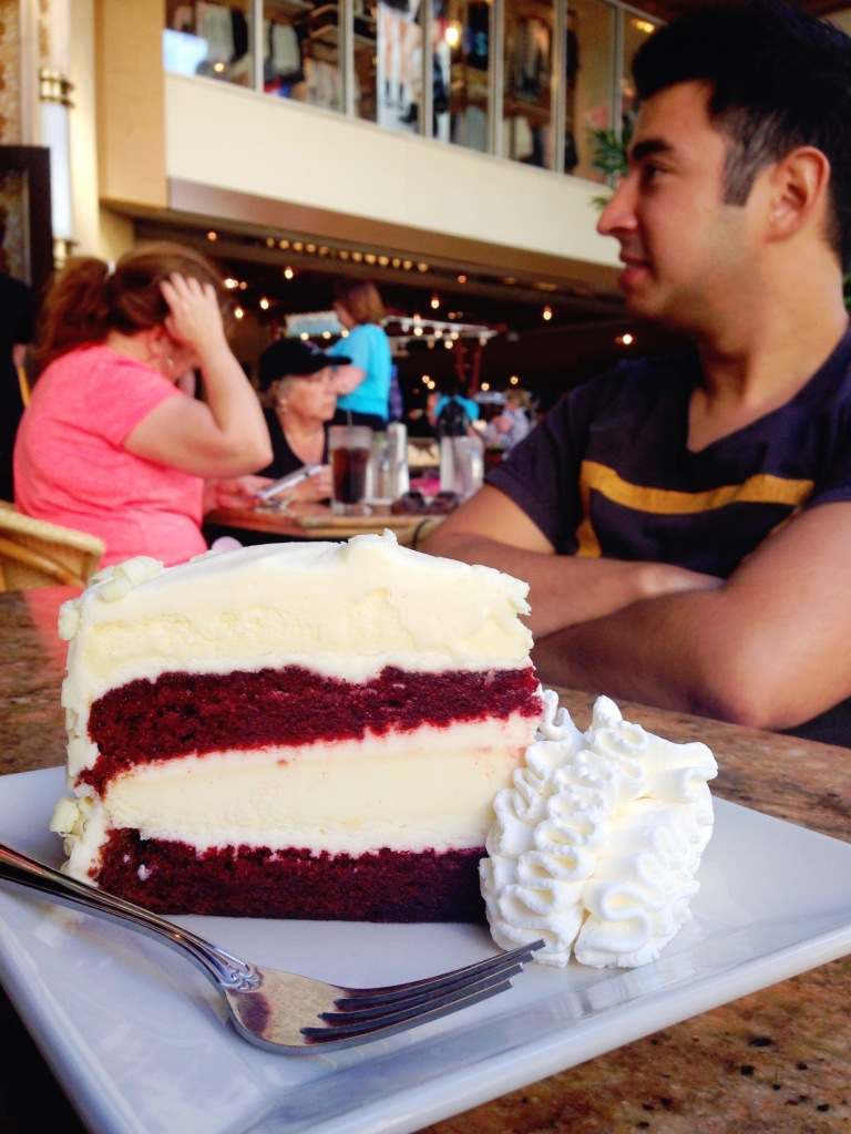 Red velvet cheesecake at the Cheesecake Factory