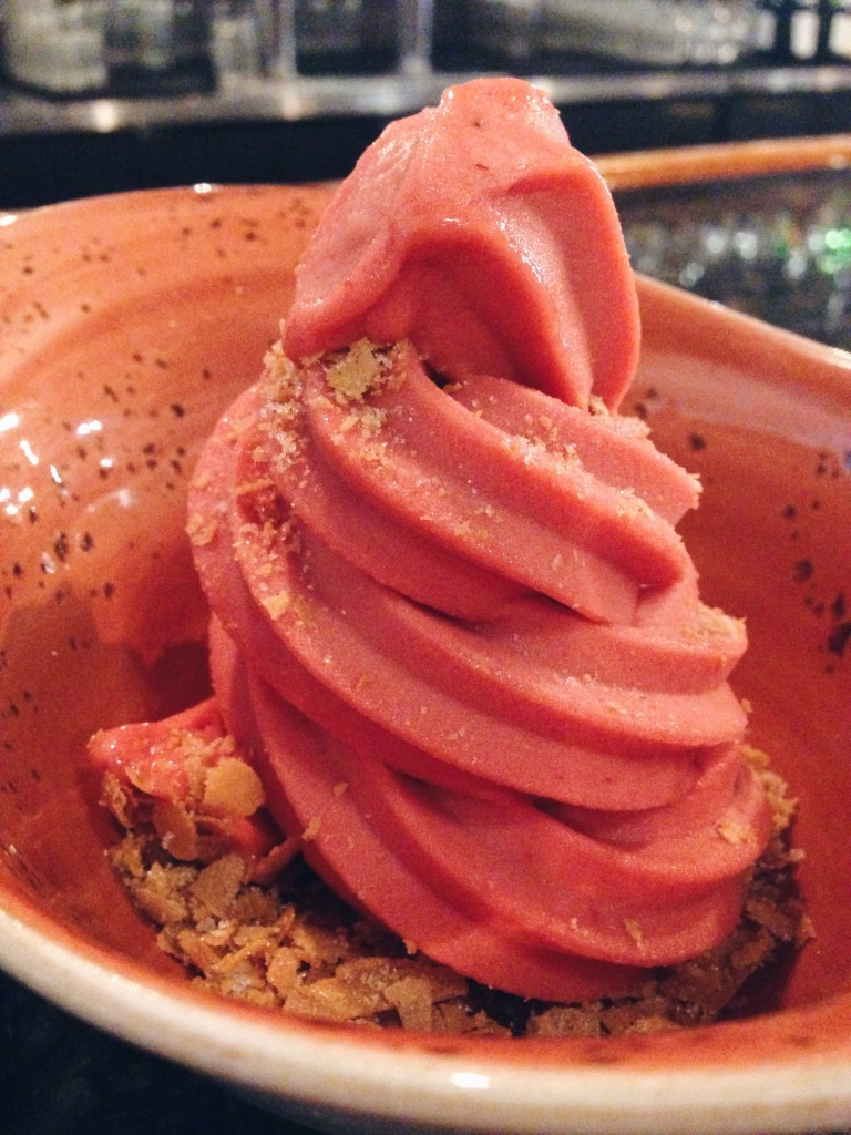 Strawberry sorbet soft serve at The Pig & The Lady