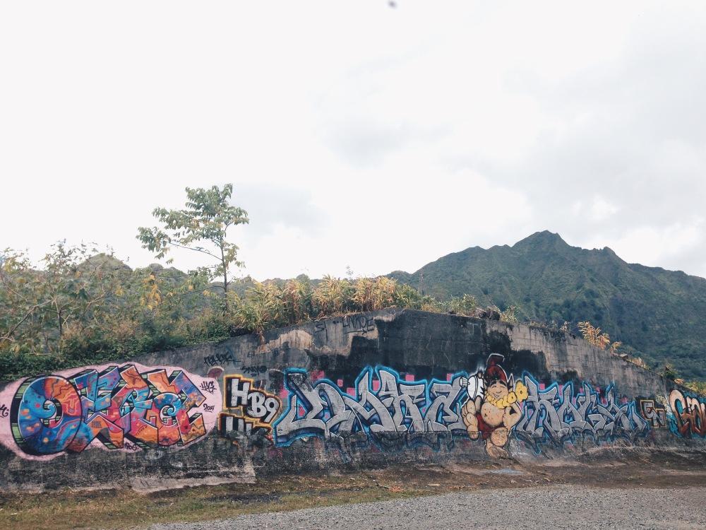 Graffiti amidst the nature of the yoga hike