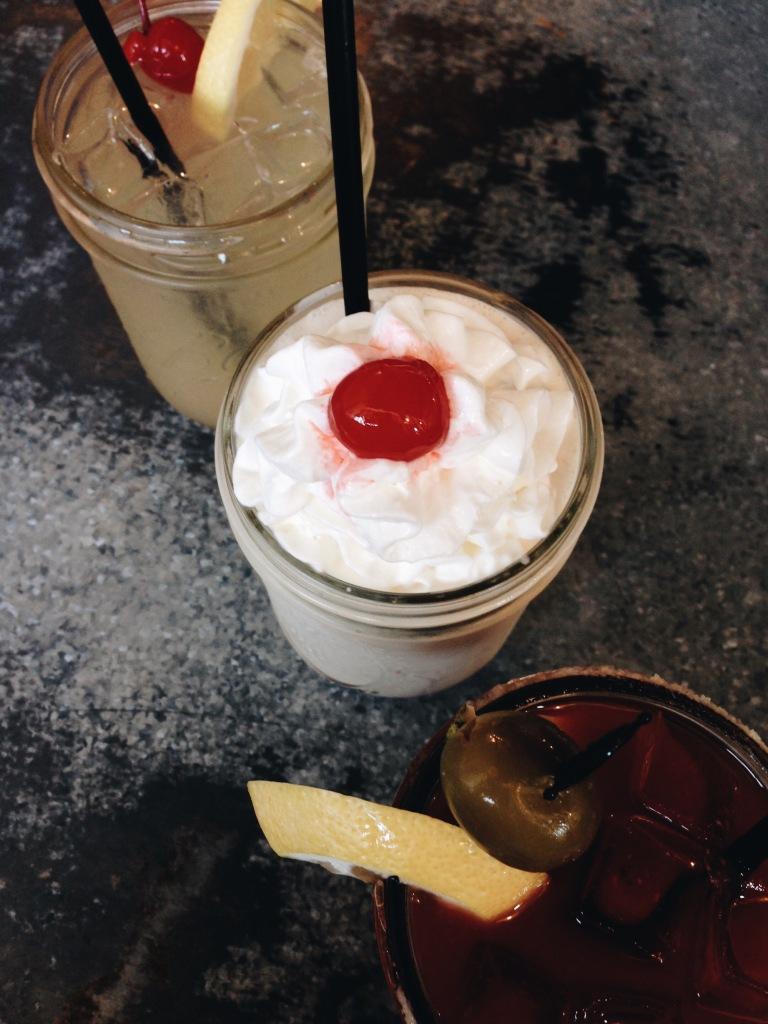 Cocktails and peanut butter milkshake at Downbeat Diner