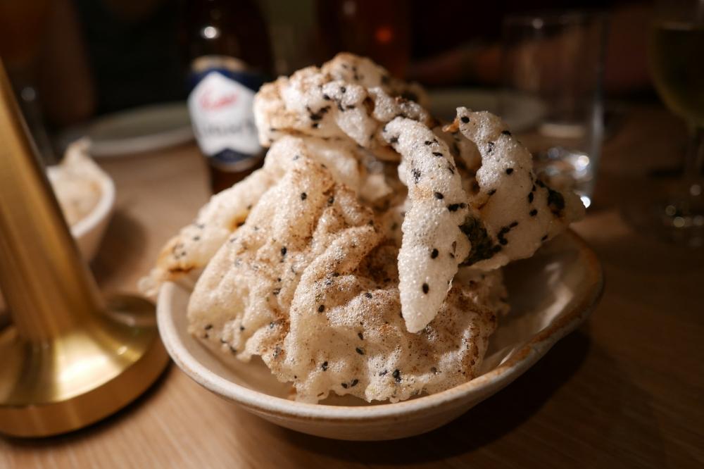 Seaweed crisps with mushroom powder